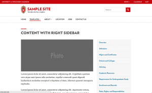 screen shot of sample template called classic content with right sidebar