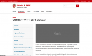 screen shot of sample theme called classic content with left sidebar