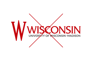 Inappropriate use of the UW logo: substituting the crest with any other icon or image.