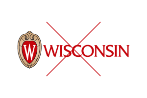 "Inappropriate use of the UW logo: removing the ""University of Wisconsin–Madison"" tagline."