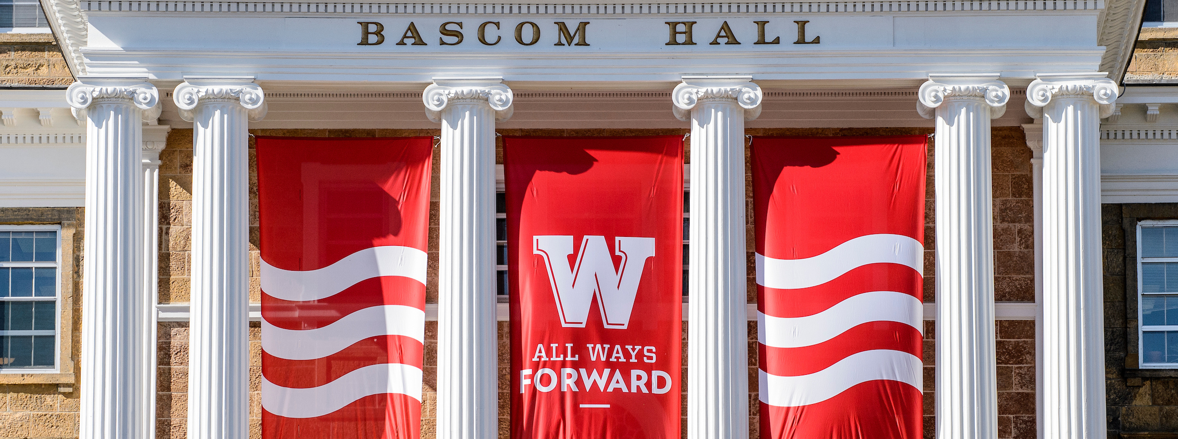 Bascom Hall pillars and banner