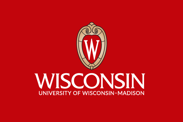 The official centered UW logo, reversed on a red background.