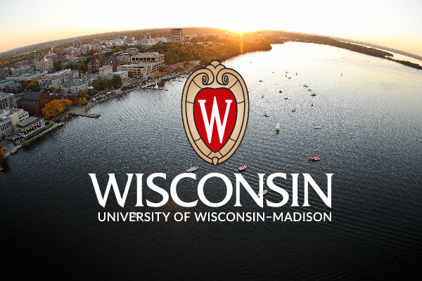 An example of proper use of the UW logo – placed on an aerial photo of Lake Mendota/campus over the lake so the logo is still readable.