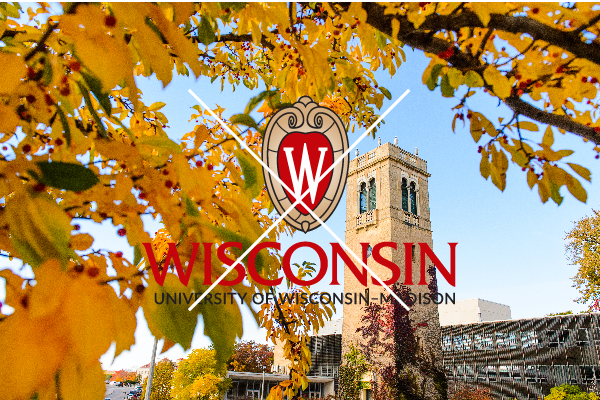 The official centered UW logo placed on a photograph taken atop Bascom Hill. The logo is placed over the sky to make it readable.