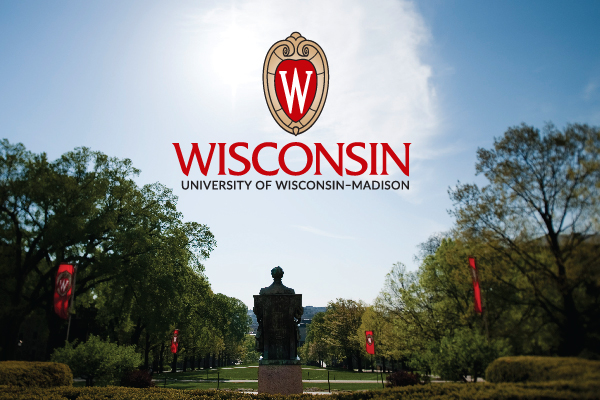 An example of proper use of the UW logo – placed on a photo of Bascom Hill with sky behind it so the logo is still readable.