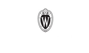 UW logo, black & white, centered, reversed