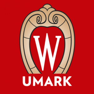 "Square icon with UW-Madison crest on red background with word ""UMARK"""