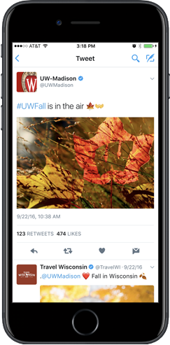 Sample tweet with hashtag #uwFall.
