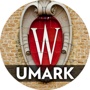 "Circle icon with word ""UMARK"" over photo of UW-Madison crest"