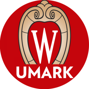 "Circle icon with UW-Madison crest on red background with word ""UMARK"""