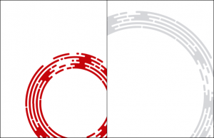Two examples of how the circle element might be used: alone, red on white, or as a background tint in light grey.