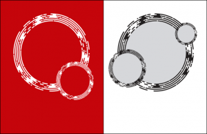 Two examples of how the circle element might be used: in a pair, reversed on red, or using multiple black circles on white with grey interior.
