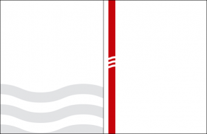 Two examples of the wave graphic element for print – 3 large light grey waves on the bottom third of the document, or reversed on a red vertical bar on the left side of the document.