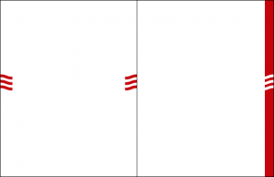 Two examples of the wave graphic element for print – 3 red waves flagging the left and right sides of a document, or reversed on a red vertical bar on the right side of the document.