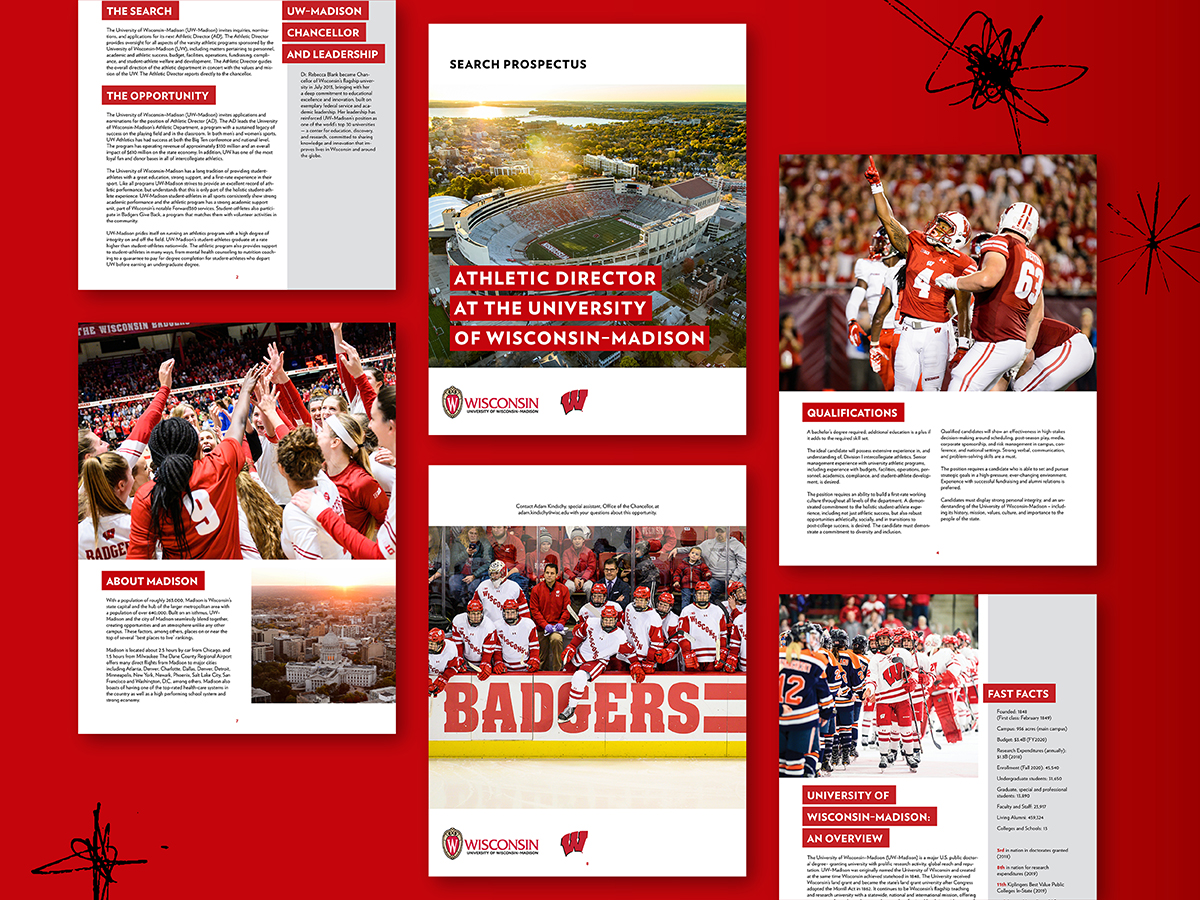 Collage showing pages from the Wisconsin Athletic Director Search publication