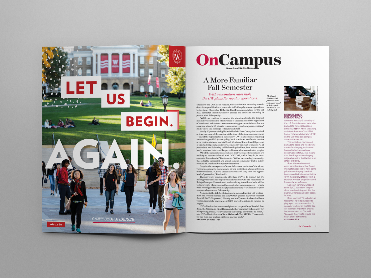 """Photo of """"Let us begin. Again."""" ad in layout featuring Bascom Hill"""