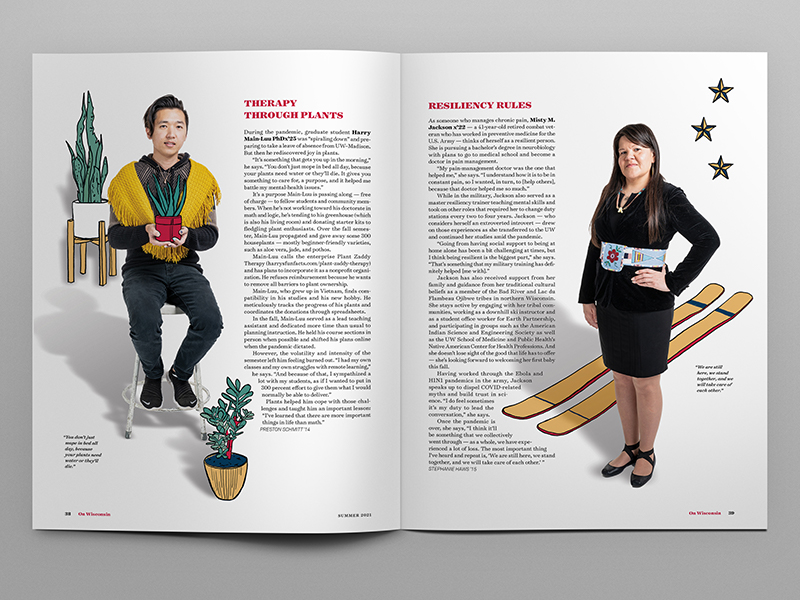 Photo of magazine layout with photo illustrations of two students