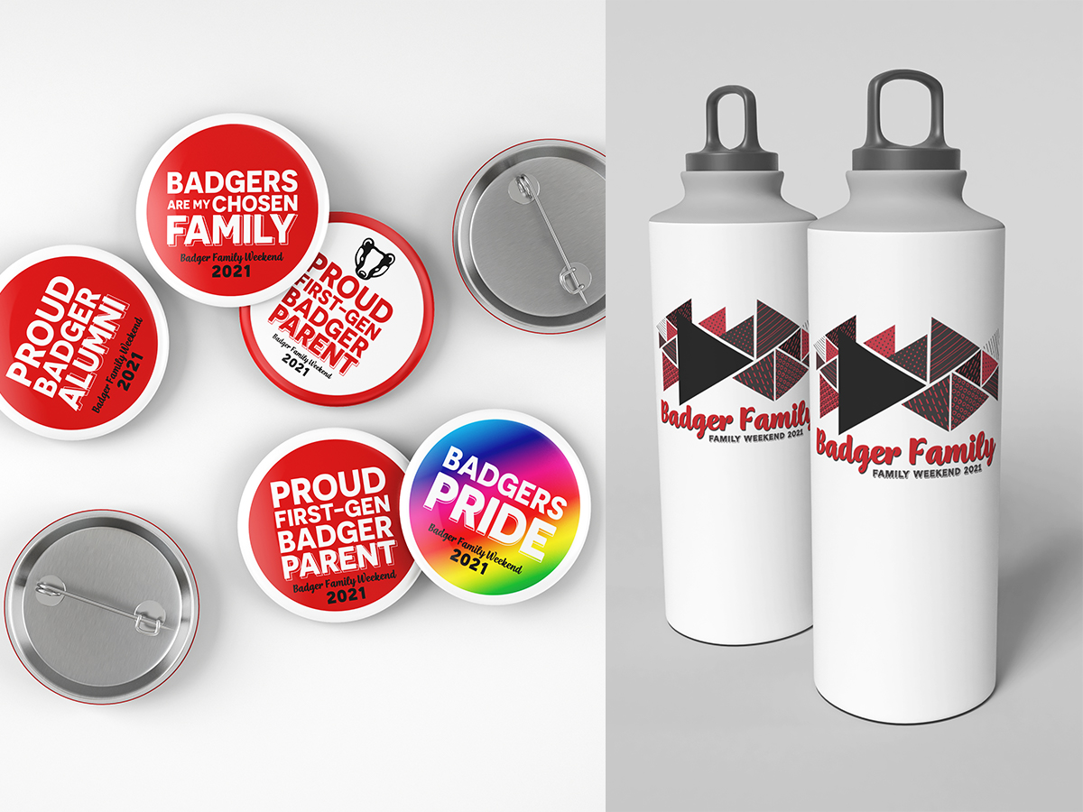 Photo of buttons and water bottles designed for Parent Weekend