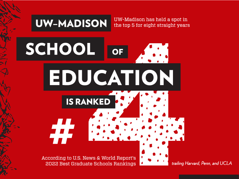 Infographic with text: UW-Madison School of Education is ranked #4.