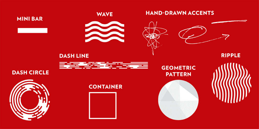 Examples of elements for use with the UW–Madison brand.