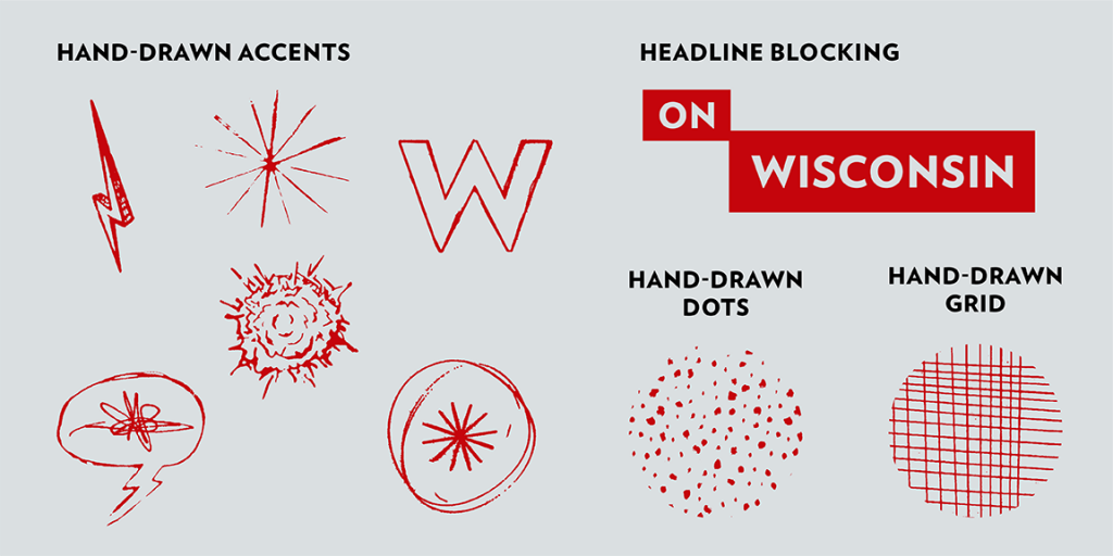 Image of hand-drawn brand accents to use with the UW brand.