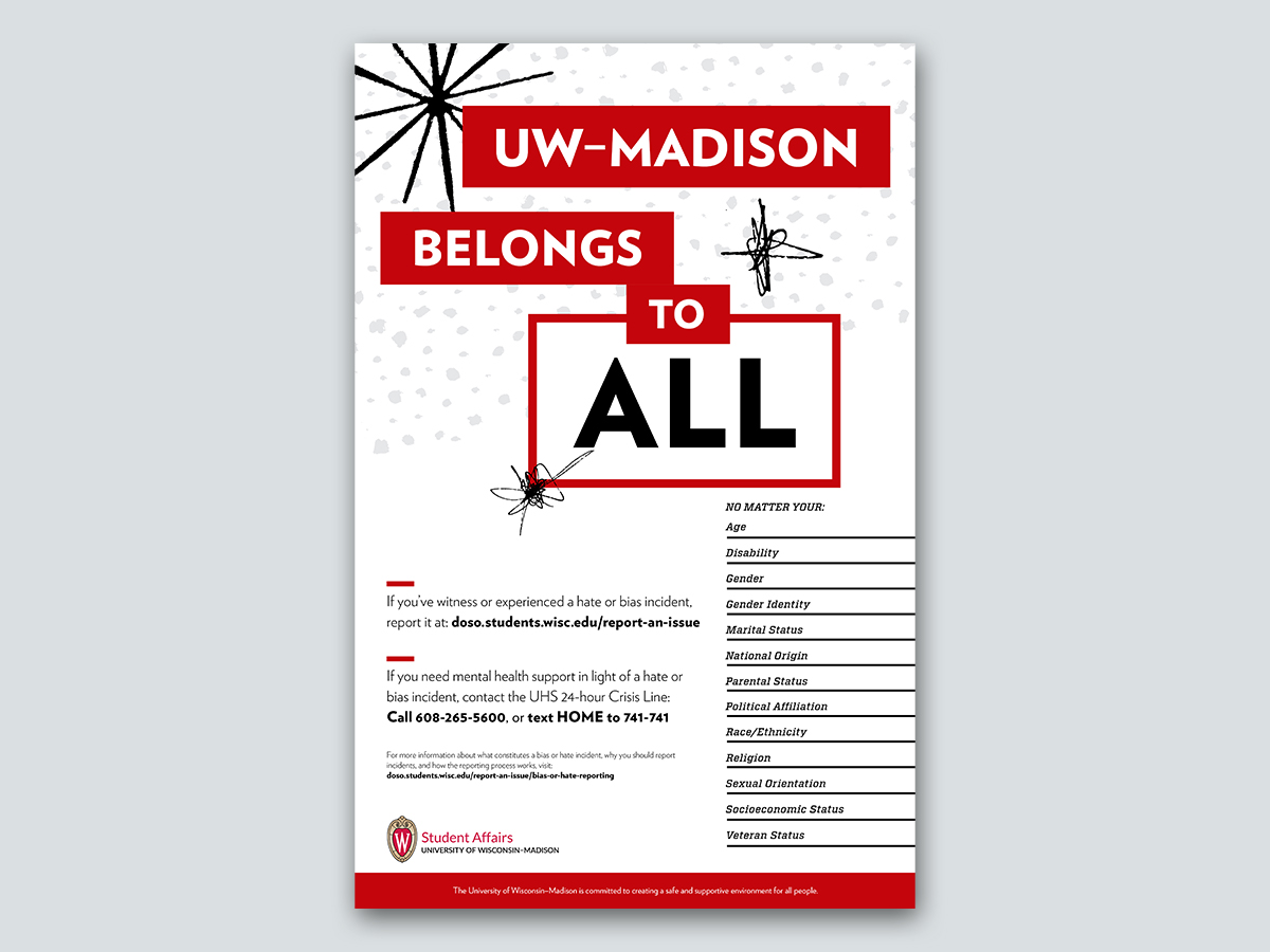 """Poster with text """"UW-Madison belongs to ALL"""""""