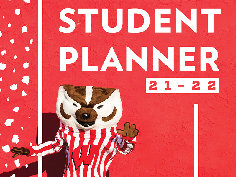 Cover image of the student planner with Bucky